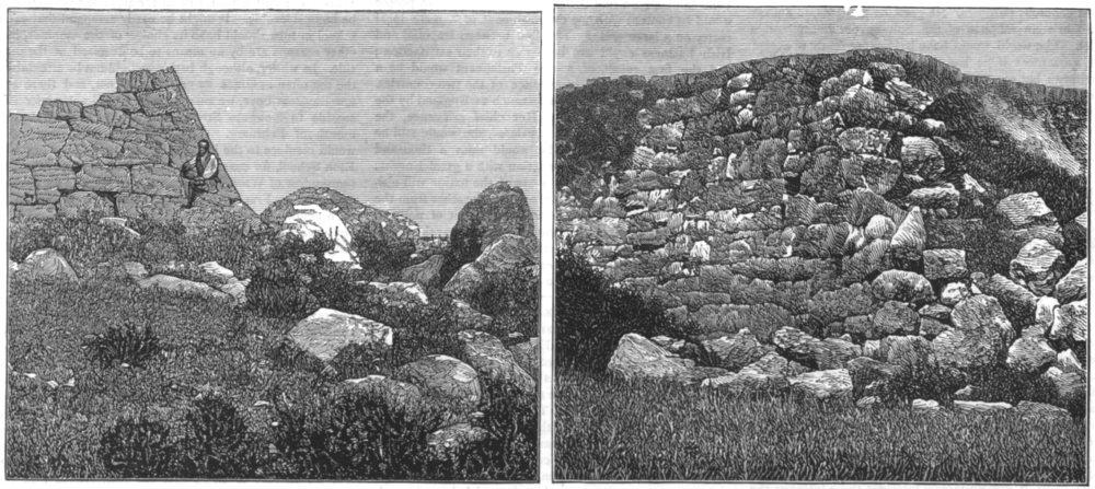 Associate Product GREECE. Remains a Cyclopean Pyramid Argos; a Sicyon, antique print, 1877