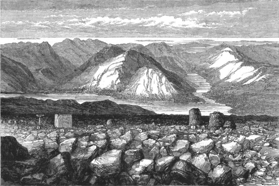 Associate Product BEN NEVIS. Meteorological observatory Summit. Lochs Linnhe Eil, old print, 1881