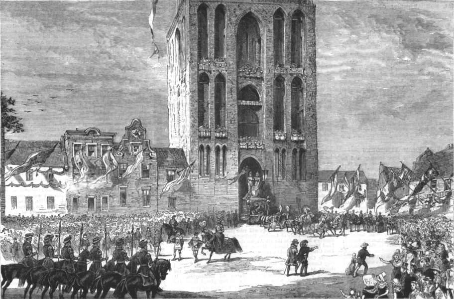 NETHERLANDS. The University Fete at Utrecht, antique print, 1881