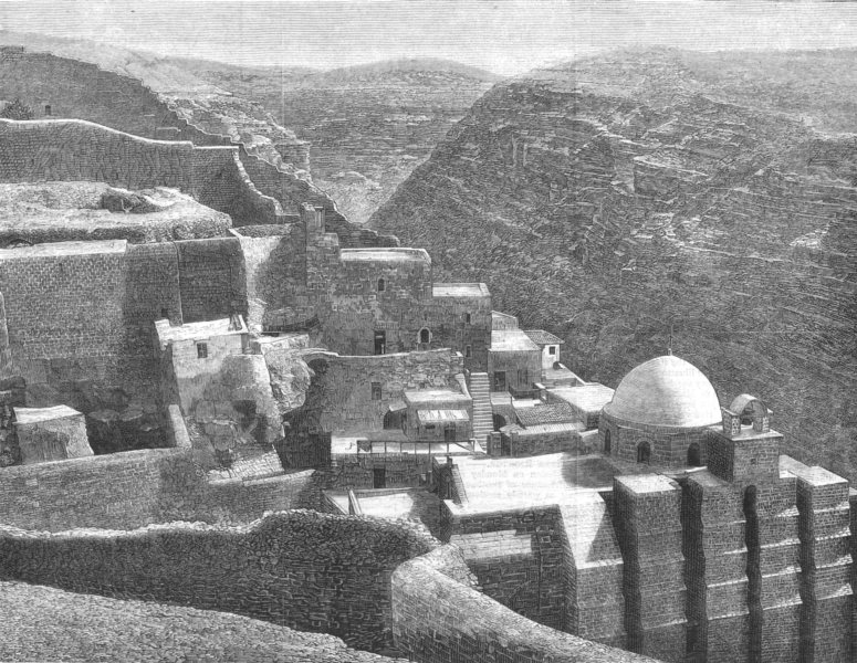 Associate Product ISRAEL. The Convent of Mar Saba, Palestine, antique print, 1881
