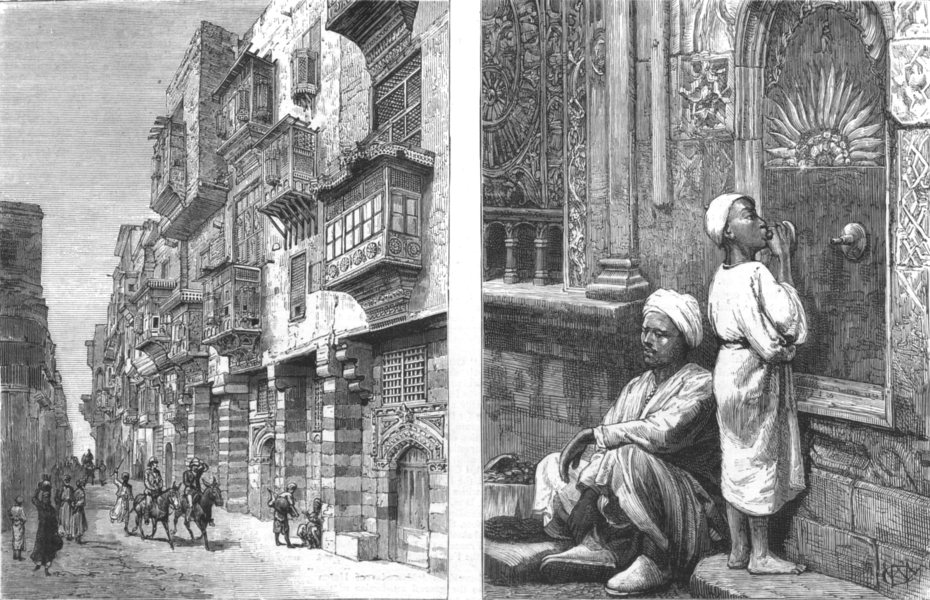 Associate Product EGYPT. A Street in Cairo-Old Style; Drinking at a Fountain, Cairo, print, 1880