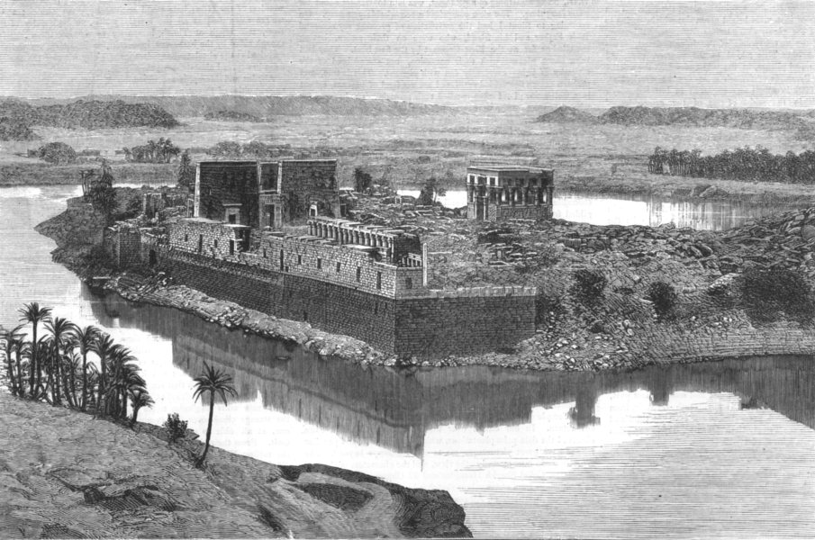 Associate Product EGYPT. General view of Philae from the Island of Biggeh, antique print, 1880