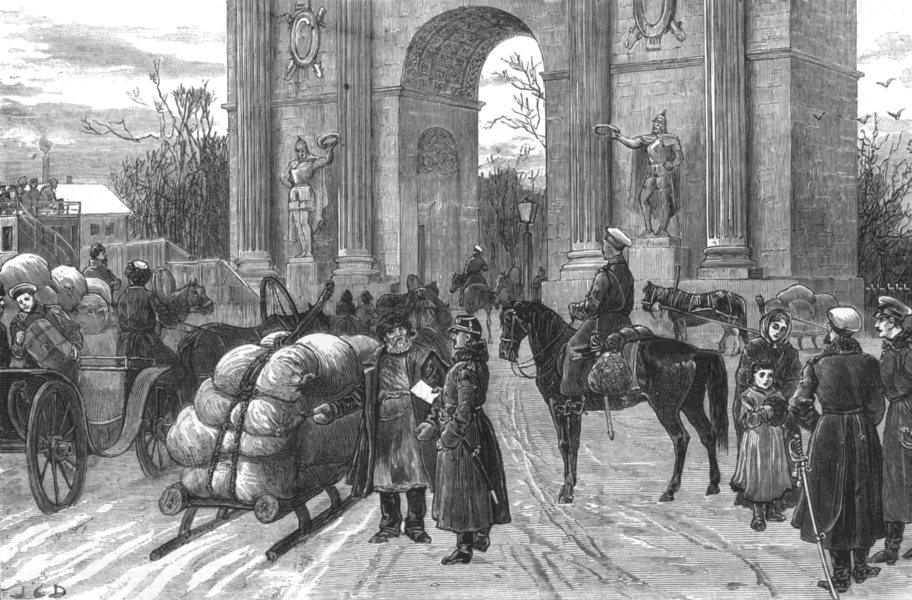 Associate Product RUSSIA. Closing of gates St Petersburg-Horse Guards Police duty, old print, 1881