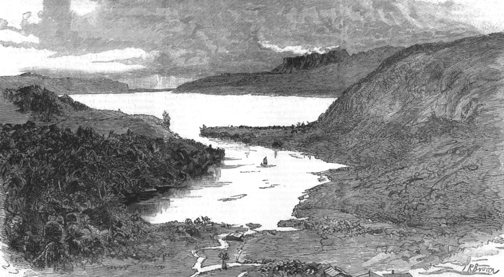 Associate Product NEW ZEALAND. Terrawerra lake & mountain, volcanic eruption in, old print, 1886