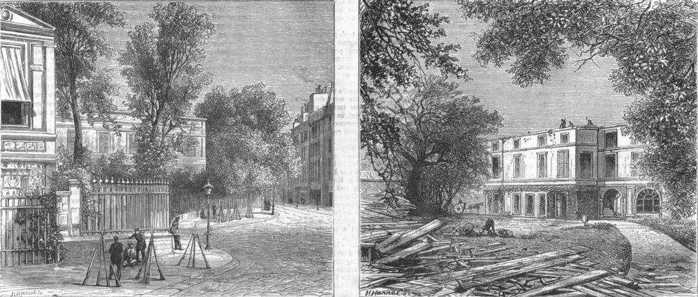 Associate Product PARIS. Thiers' House Place St Georges, sacked by Communists, antique print, 1871