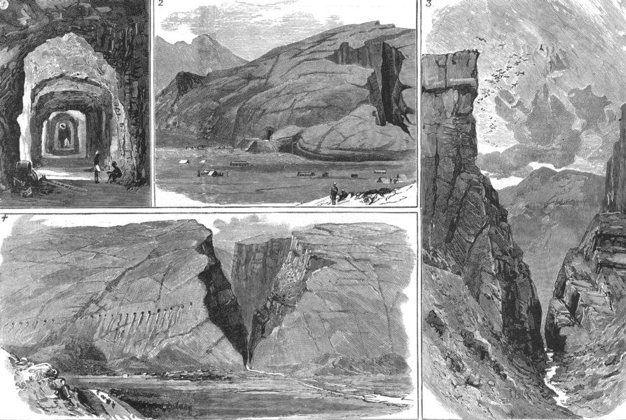 Associate Product INDIA. Chapper Rift on the Quetta railway. Tunnel; Manghi End; Dargi, 1886