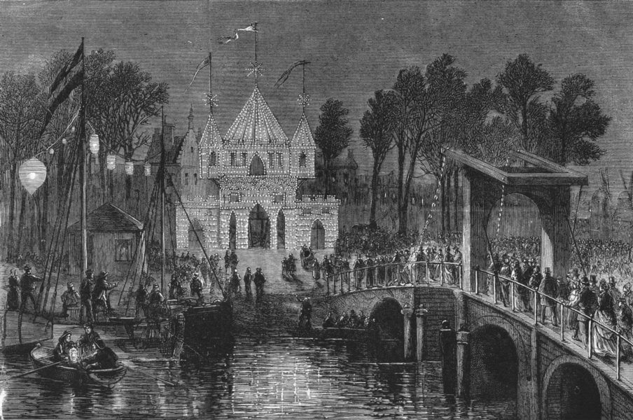Associate Product AMSTERDAM. Independence 300th anniversary.Celebrations-Brielle gate, print, 1872