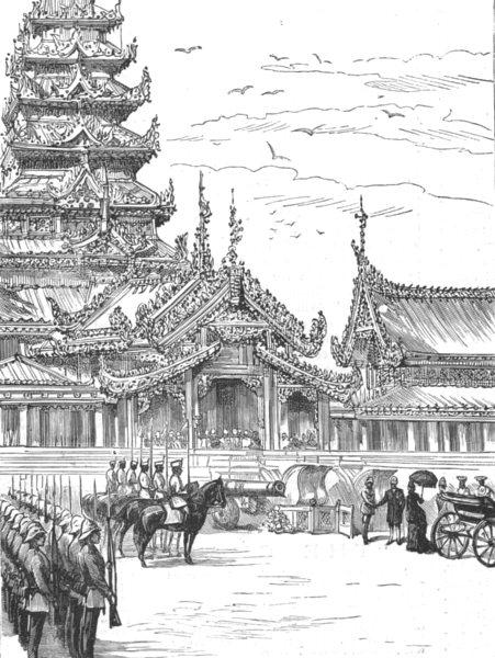 Associate Product BURMA. Dufferin-Gen Prendergast's Viceroy steps Palace, Mandalay, print, 1886