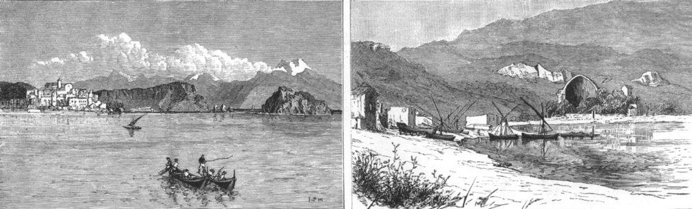 Associate Product ITALY. Pozzuoli, bay of Baiae; Temples of Venus and Mercury, Baiae, print, 1886