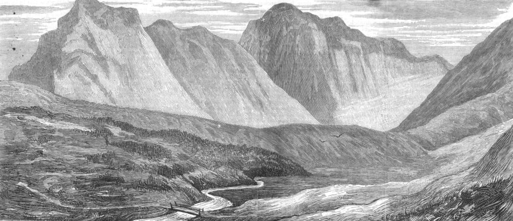 Associate Product CUMBRIA. Pillar mountain, Cumberland hills, where Mr Edward Barnard died, 1876