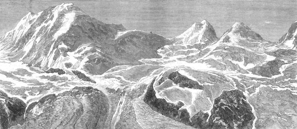Associate Product SWITZERLAND. Felik Joch, Zermatt, where Johnson & Hayman died, old print, 1876