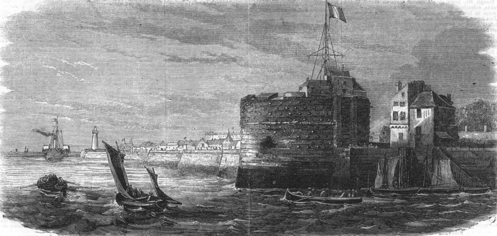 Associate Product SEINE-MARITIME. The Old tower of Francis I, at Le Havre, antique print, 1862
