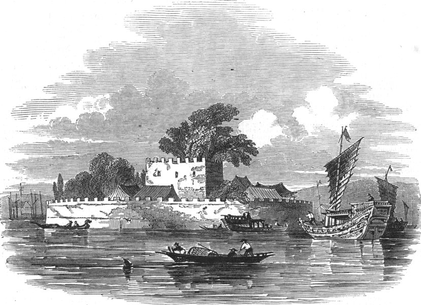 Associate Product CHINA. The French Folly fort, Guangdong river, antique print, 1837