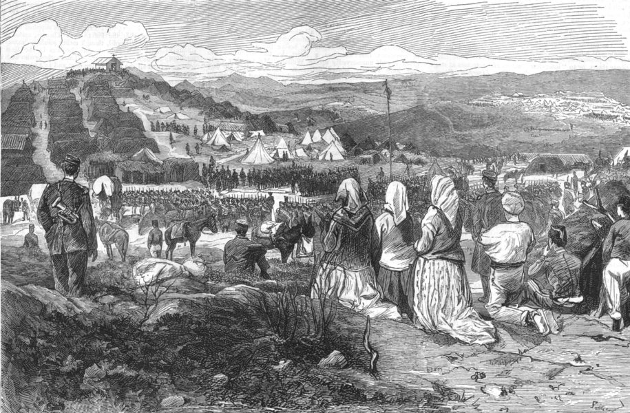Associate Product SPAIN.The Civil war in Spain-Mass in the Alphonsist camp on Mount Esquinza, 1875