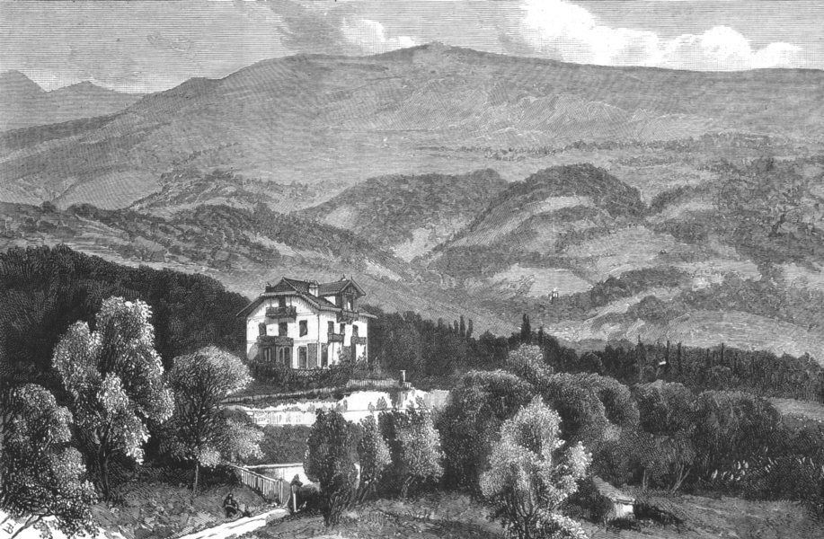 Associate Product FRANCE. Queen's trip to Menton;Chalet des Rosiers,with mountains behind it, 1882