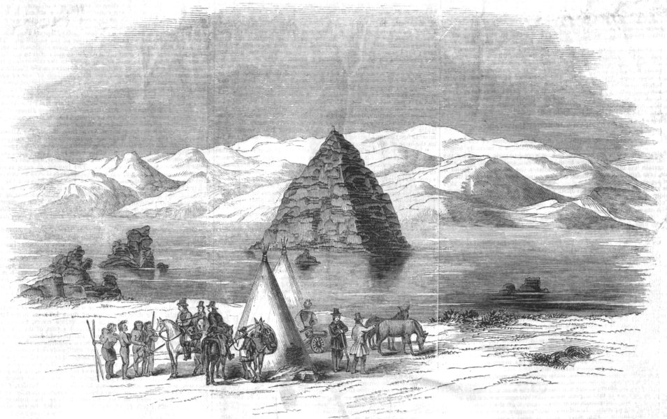 Associate Product TEMPLES. The Pyramid lake, antique print, 1846