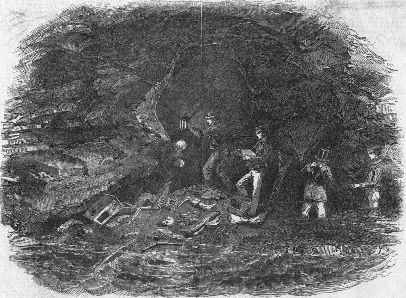 CAVES. Pioneer Cavern, death Place of Maidment, Patagonian Mission, print, 1852