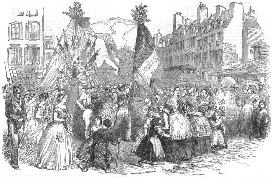 Associate Product FRANCE. Parade of forts De La Halle Paris, carrying bust Prince president, 1852