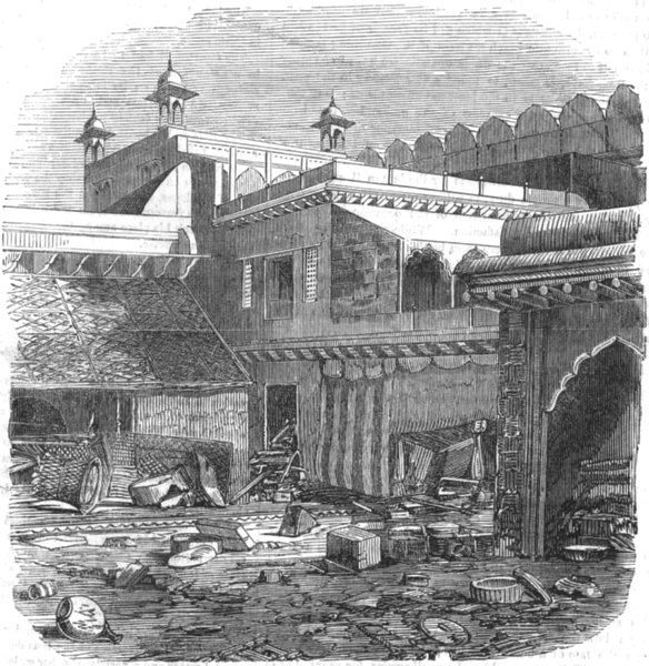 Associate Product INDIA. Delhi after the siege. looted house within the palace walls, print, 1858