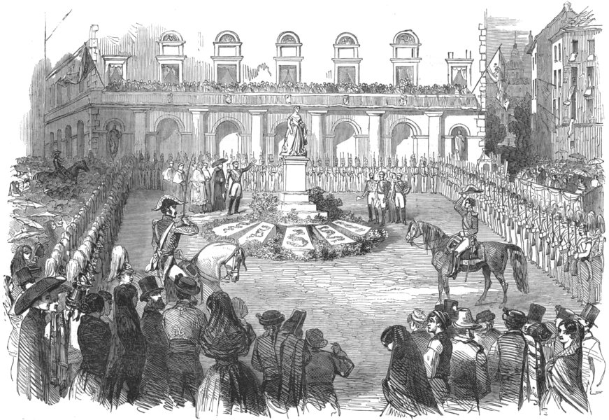 Associate Product SPAIN. Inauguration of the statue of Queen Isabella II, at Madrid, print, 1850
