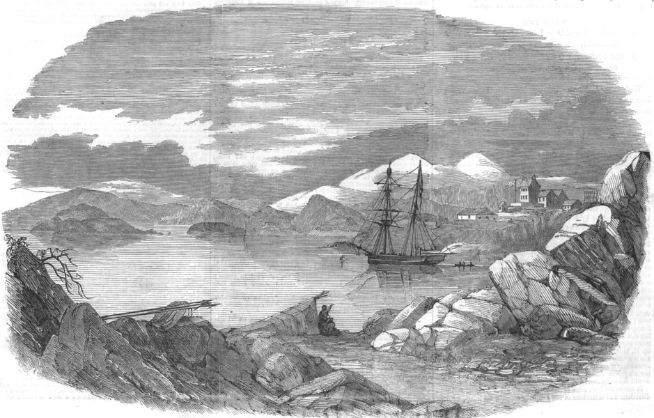 Associate Product GREENLAND.Fiskernces, a Danish settlement, south of, with Isabel at Anchor, 1858