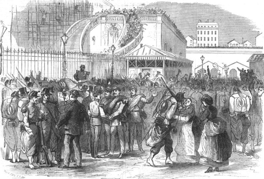 Associate Product PARIS. The war. Soldiers leaving Paris, antique print, 1870