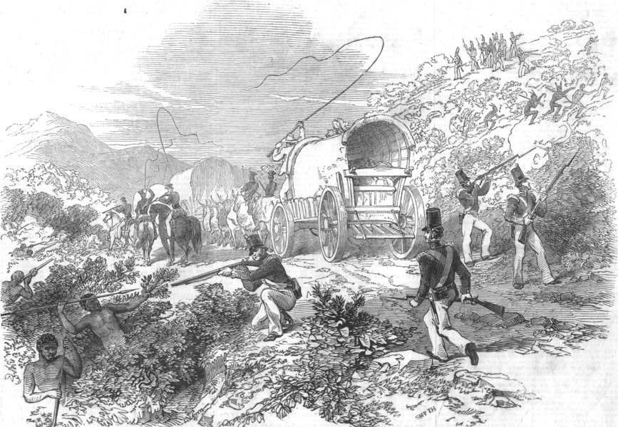 Associate Product MILITARIA. Rescue of the Ammunition Waggons, antique print, 1846