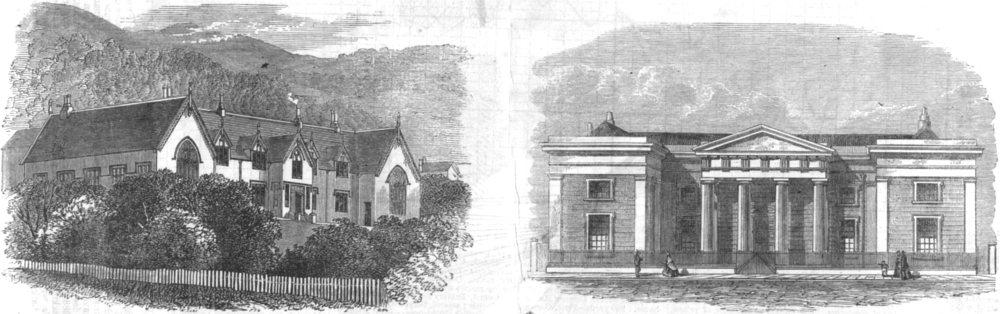 Associate Product NEW ZEALAND. Supreme courthouse, Wellington; Govt House, antique print, 1864