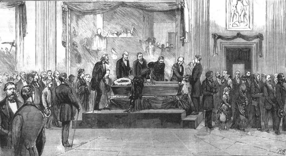 Associate Product WASHINGTON DC. President Garfield lying in State Rotunda of Capitol, print, 1881