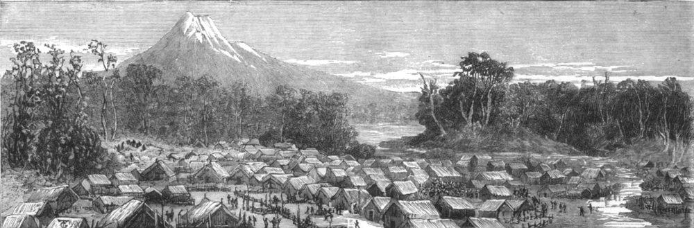 Associate Product NEW ZEALAND. Threatened Maori rising in. Parihaka, main Stronghold, print, 1881