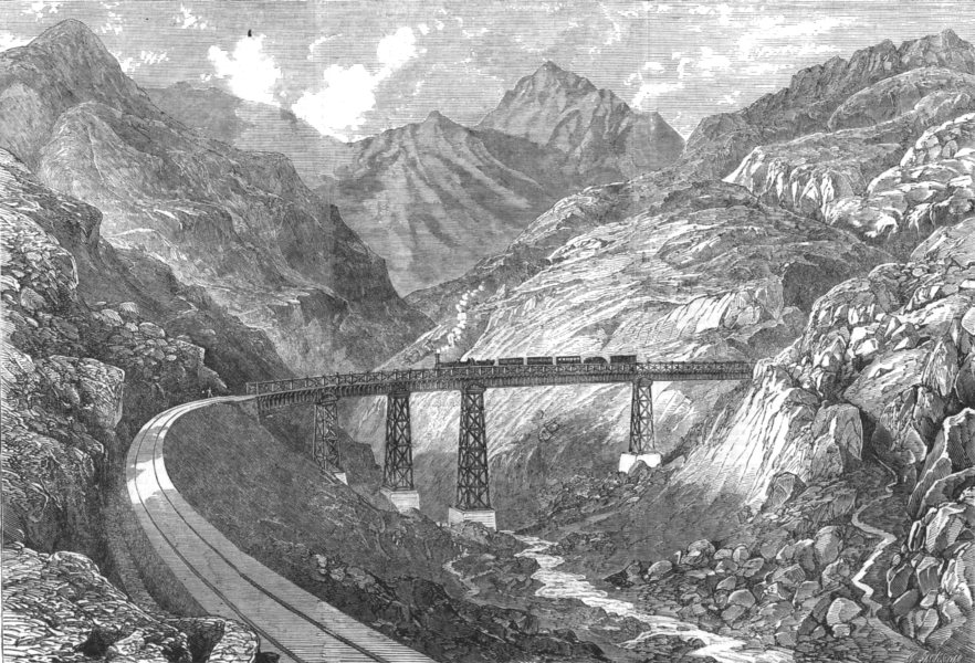 Associate Product CHILE. The Maquis Viaduct, antique print, 1864