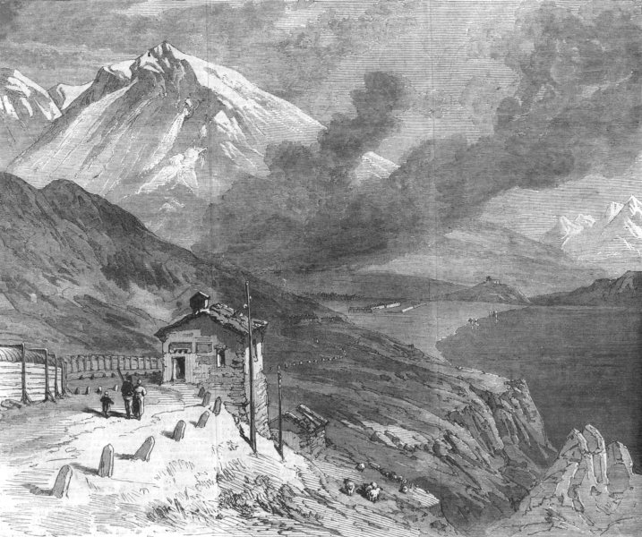 Associate Product FRANCE. railway over The Alps-peak of Mont Cenis & lake, antique print, 1869