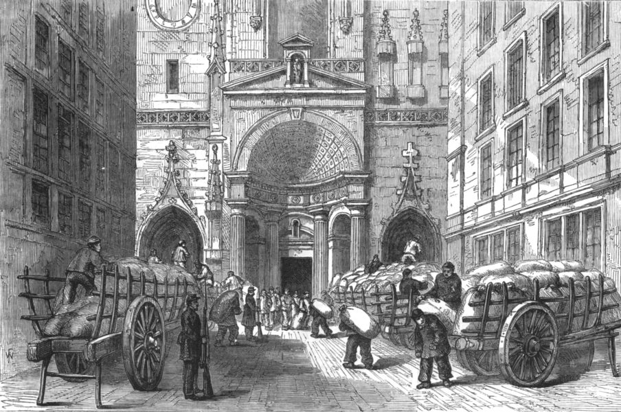 Associate Product RHÔNE. Storing Flour in the church of St Nizier, Lyons, antique print, 1870