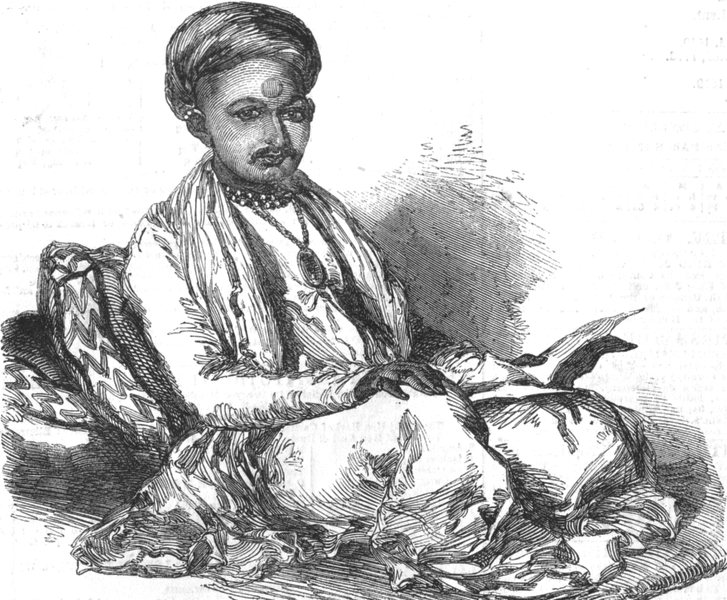 Associate Product INDIA. Mougunbhoy Kumemchund, the Banker of Ahmedabad, antique print, 1852