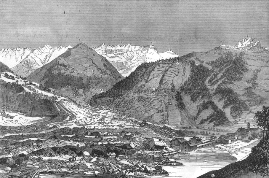 Associate Product SWITZERLAND. Landslip. Mosli Sernf Mittaghorn Zwolfihorn Stafeli Elm, 1881
