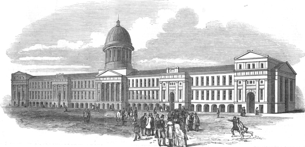 Associate Product CANADA. The New market Montreal, in which the Parliament Now sit, print, 1849