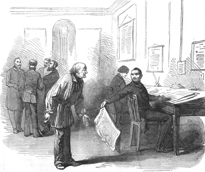 Associate Product BUILDINGS. Office of the newspaper Police, antique print, 1852