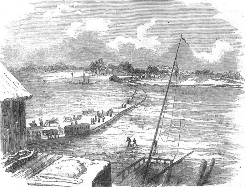 Associate Product MARYLAND. Railroad of the frozen Susquehanna, state of Maryland, old print, 1852