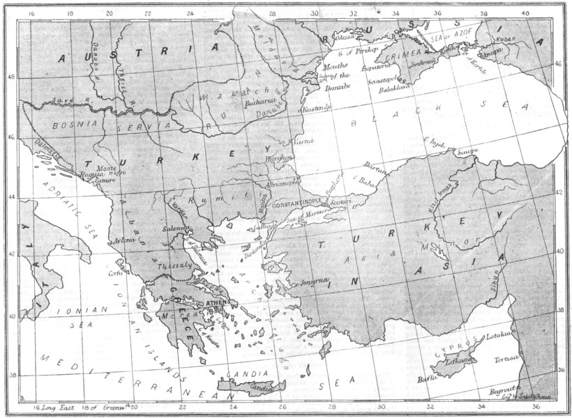Associate Product TURKEY. The Eastern Question-Map of Turkey and the surrounding countries, 1876