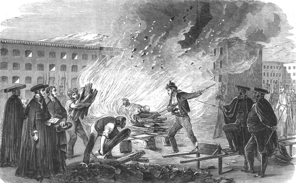 SPAIN. Burning of body Merino gate Bilbao Madrid, antique print, 1852