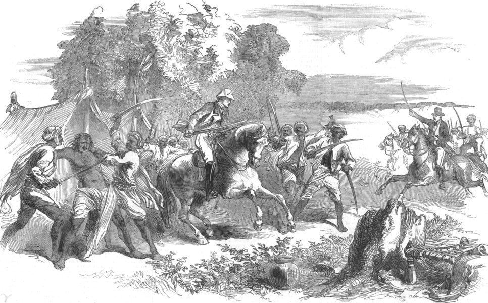 Associate Product INDIA. Capture of the Robber chief, Rundheer Singh, of Syfabad, in Awadh, 1852