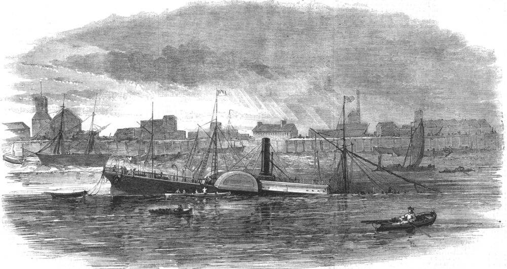 Associate Product LONDON. Wreck of the Baron Osy in Limehouse Reach, antique print, 1863