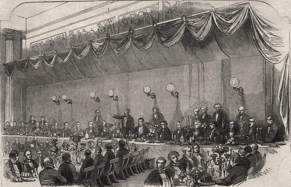 Associate Product Banquet to Mr. Ingersoll, the American minister, Manchester town hall, 1853