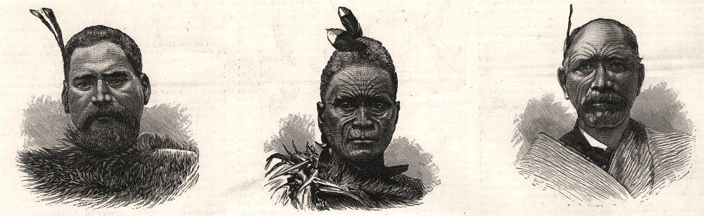 Associate Product Major Te Wheoro, Tawhiao, the Maori king, Patari Te Tuhi, King's cousin, 1884