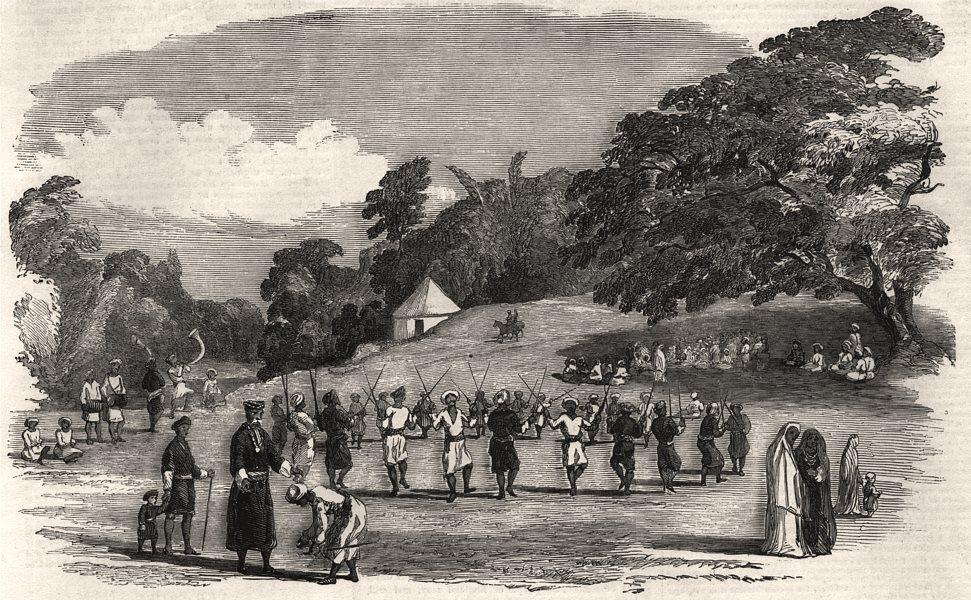 Coorg (Kodagu) harvest festival, Madras (Chennai). India, antique print, 1852