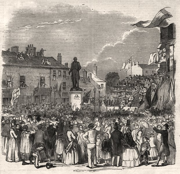 Associate Product Inauguration of Sir Robert Peel's statue at Bury. Lancashire, old print, 1852