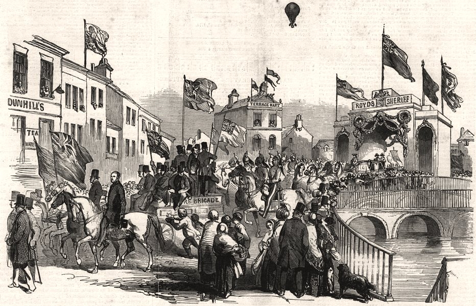 Associate Product Procession of the High Sheriff of Lancashire at Rochdale, antique print, 1850