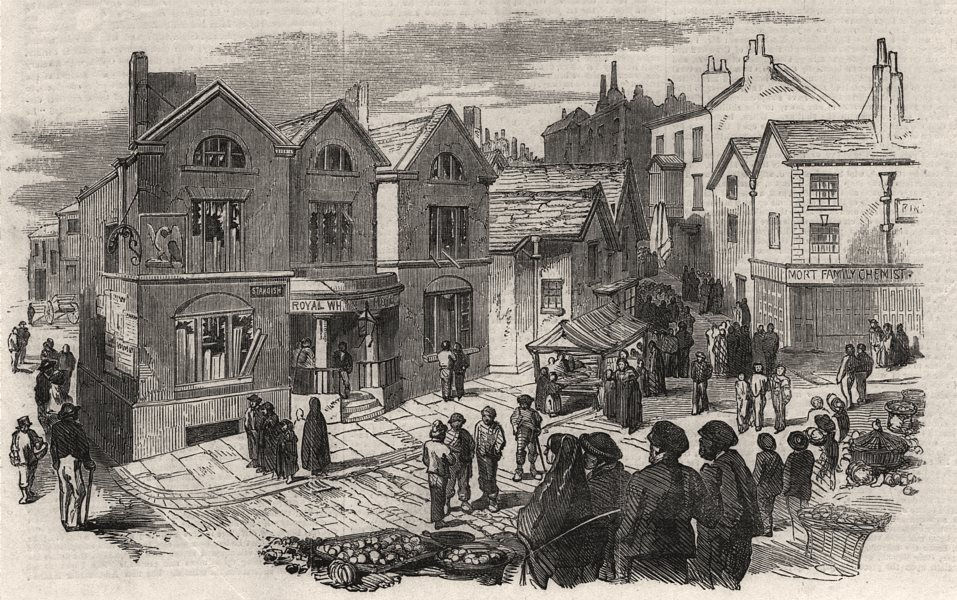 Associate Product Scene of the riot at Wigan - the Royal Hotel. Lancashire, antique print, 1853