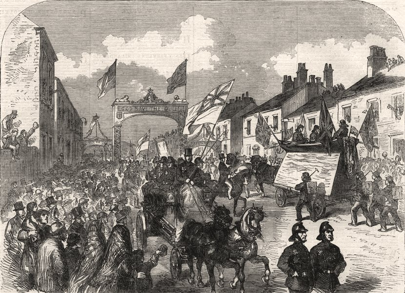Associate Product Trades' procession doubling at the triumphal arch, London Road, Preston, 1862