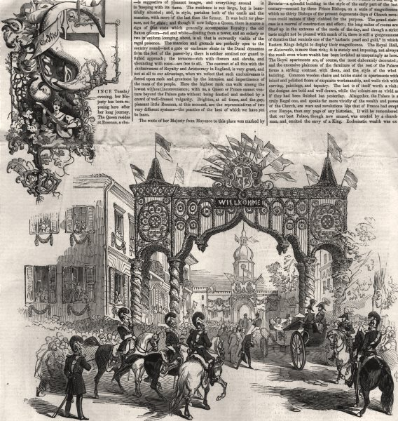 Associate Product Queen Victoria's entrance into Coburg. Bavaria, antique print, 1845